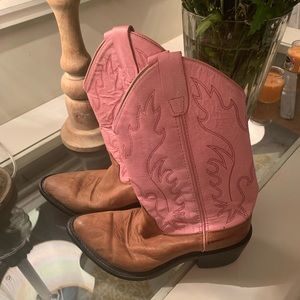 Old West cowboy boots pink upper, pointed toe! S-5